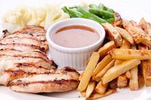 Bbq Chicken Breast With Fries,...