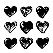Abstract Black Strokes In Hear...
