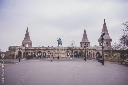 Saint Istvan statue and fisherman's bastion in Budapest, Hungary Canvas Print