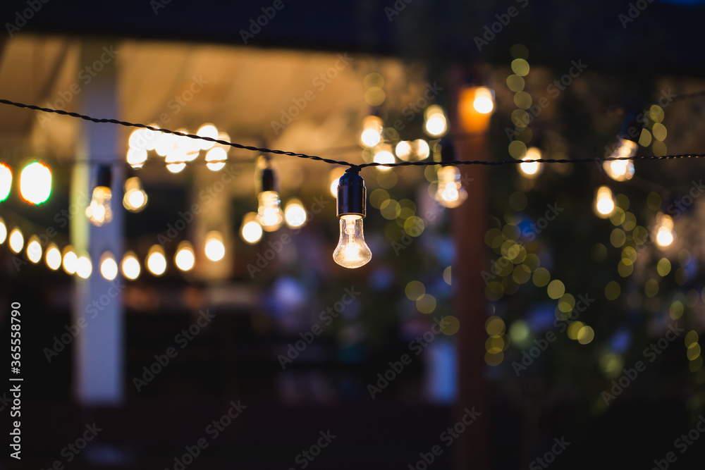 Fototapeta outdoor string lights hanging on a line in backyard