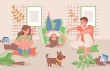 Happy Family Spending Time Together At Home Or Garden Vector Flat Illustration. Mother, Father, And Daughter Transplanting Flowers, Or Domestic Pets, Cat, And Dog Dropped Flower Pots.