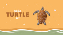 Detailed Flat Vector Illustration Of A Turtle Laying Eggs On A Beach. World Turtle Day.
