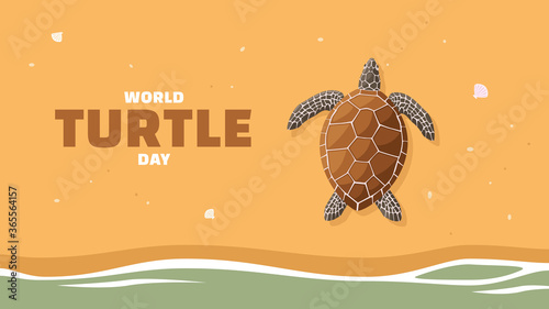 Fototapeta Detailed flat vector illustration of a turtle laying eggs on a beach