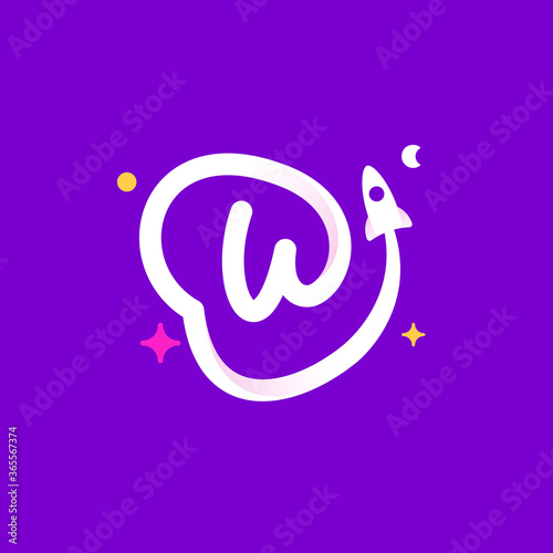 Logo template letter W with planets, rocket launch and stars. Wallpaper Mural