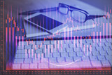 Fototapeta Kawa jest smaczna - Double exposure of forex chart drawing and cell phone background. Concept of financial trading