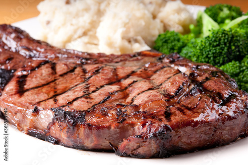juicy bbq rib steak with garlic mashed potatoes and brocolli Fototapeta