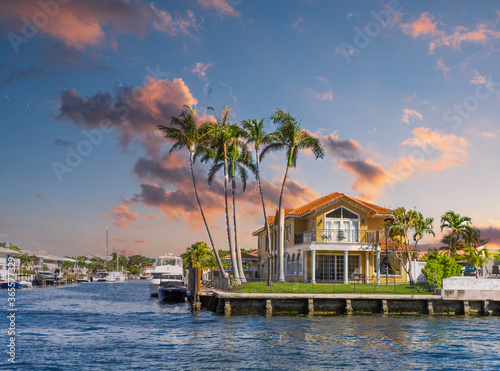 A Large House on the Intracoastal Waterway in Fort Lauderdale Canvas