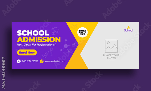 Fotografía Kids school education admission timeline cover layout and web banner template