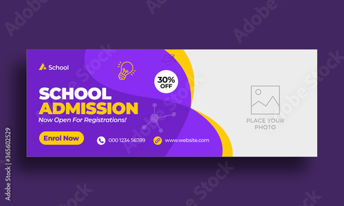 Fototapeta Kids school education admission timeline cover layout and web banner template obraz