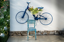 Flower Pot On Old Bicycle Hang...