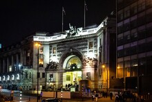 Night View Of The Main Entrance Of Waterloo Station In London, UK