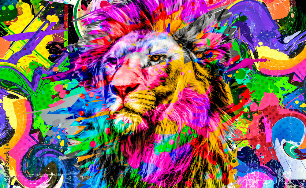 Fototapeta close up of colorful painted lion face