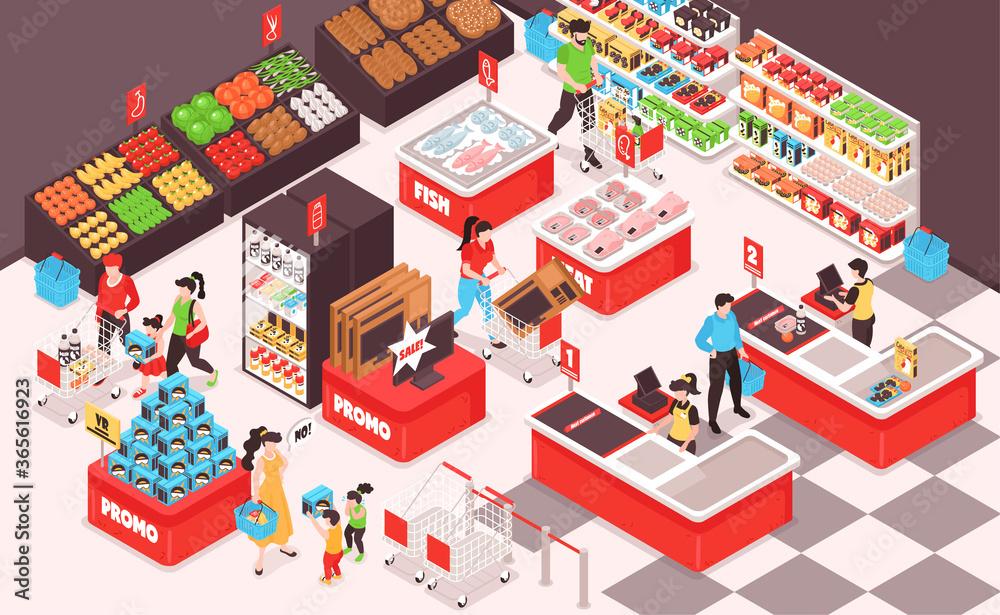 Fototapeta Supermarket Isometric Composition