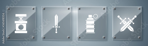 Set Crossed medieval sword, Hand grenade, Medieval sword and Handle detonator for dynamite Canvas-taulu