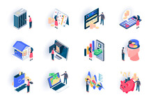 Banking Service Isometric Icon...