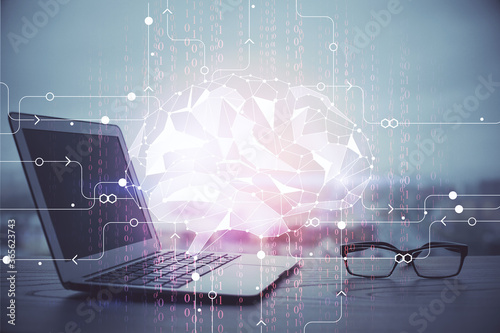 Multi exposure of work table with computer and brain hologram Canvas Print
