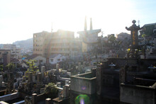 Japanese Cemetery Complex In Hilly Nagasaki With Church Of 26 Martyrs.