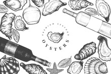 Oysters And Wine Design Templa...