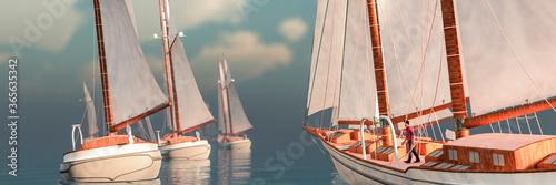 Fototapeta sailboat sailing in the sea obraz