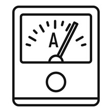 Ampere Meter Device Icon. Outline Ampere Meter Device Vector Icon For Web Design Isolated On White Background
