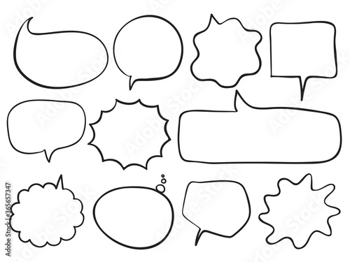 Fototapeta isolated speech bubbles text balloon childish lines simple doodle set sign for speaking, talking, announcement, text, conversation etc. vector design obraz