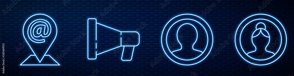 Fototapeta Set line Create account screen, Location and mail and e-mail, Megaphone and Create account screen. Glowing neon icon on brick wall. Vector.
