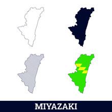 Japan State Miyazaki Map With Flag Vector