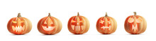 Collection Of Halloween Pumpkins Isolated On White.