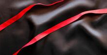 Red Satin Ribbon And Black Sil...
