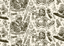 Post Apocalypse Seamless Pattern. Doomsday Girl And Gun, End Of World. Post Apocalyptic Man Warrior, Soldier Woman. People, Weapon Of Dark Future. Nuclear War Background