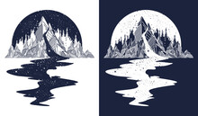 River Of Stars Flows From The Mountains. Tattoo Art. Infinite Space. Meditation Symbols, Travel And Tourism. Endless Universe T-shirt Design, Surreal Graphics. Black And White Vector