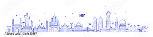 Naklejka premium Indie panoramę budynków wiejskich wektor sztuki liniowej