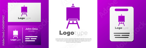 Tablou Canvas Logotype Wood easel or painting art boards icon isolated on white background