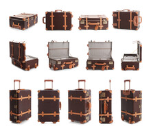 Set Of Vintage Suitcases On White Background