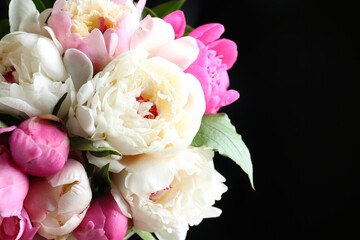 Fototapeta Peonie Bouquet of beautiful peonies on black background, closeup
