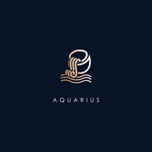 Aquarius Zodiac Logo Design Wi...