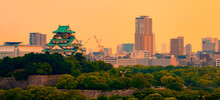 View Of Osaka Castle At Sunset...