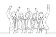 One continuous line drawing of young happy male and female managers raise their hands up to the sky together. Business teamwork celebration concept single line draw design graphic vector illustration