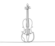 Single Continuous Line Drawing Of Violin On White Background. Trendy Stringed Music Instruments Concept One Line Draw Design Graphic Vector Illustration
