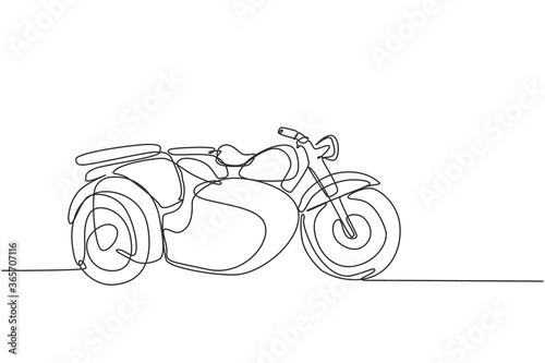 Fototapeta One continuous line drawing of retro old vintage motorcycle with sidecar. Classic motorbike transportation concept single line draw graphic design vector illustration obraz