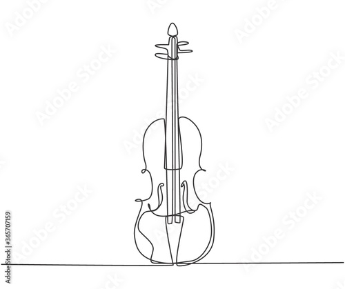 Fotografie, Tablou Single continuous line drawing of violin on white background