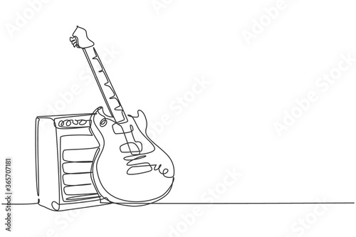Papel de parede One single line drawing of electric guitar with amplifier