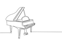 One Continuous Line Drawing Of Luxury Wooden Grand Piano. Classical Music Instruments Concept. Trendy Single Line Draw Design Graphic Vector Illustration