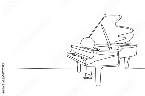 Fotografering One single line drawing of luxury wooden grand piano