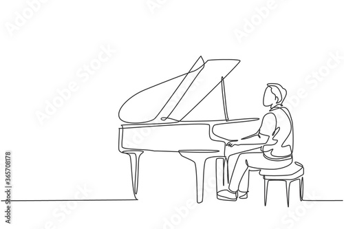 Foto Single continuous line drawing of young happy male pianist playing classic grand piano on music concert orchestra