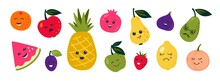 Doodle Fruits. Cartoon Funny Characters Of Berries And Citrus With Happy Faces, Tropical Food With Cute Kawaii Emotions. Vector Set Doodles Character Cute Summer Fruit