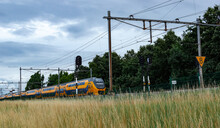 """Dutch Train Of The National Railways ( NS) With Graffiti """"Nawas Amigos"""" Passing By On A Cloudy Day."""