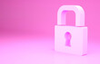 canvas print picture - Pink Lock icon isolated on pink background. Padlock sign. Security, safety, protection, privacy concept. Minimalism concept. 3d illustration 3D render.