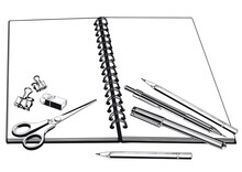 Notebook, Scissors And Pencils.