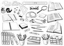 Set Of School And Office Supplies. Stationery Collection.